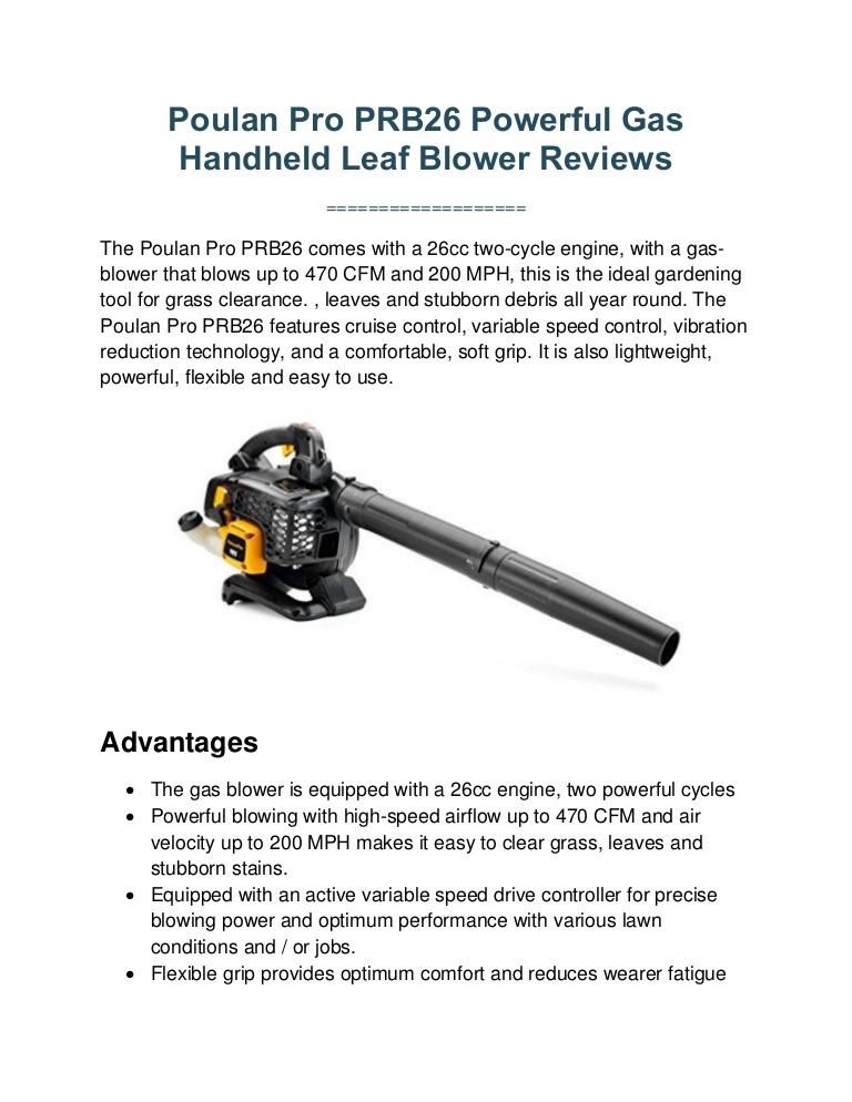 Poulan Pro PRB26 Leaf Blower