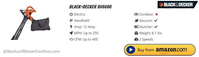 Black and Decker BV6600 Leaf Blower Specs